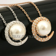 Fashion White Pearl Necklace & Pendant Jewelry 18KGP Crystal Rhinestone