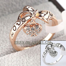 Fashion Heart Ring 18KGP use Rhinestone Crystal Size 5.5-9