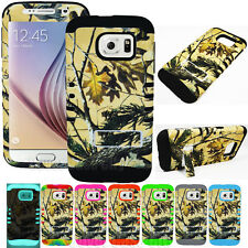 For Samsung Galaxy S6 Hybrid Armor Hard Soft Cover Case Oak Tree Camouflage Camo