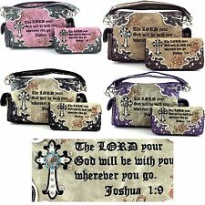 Concealed Carry Rhinestone Cross Bible Verse Joshua 1:9 Handbag with Wallet