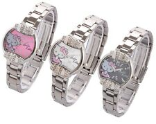 HelloKitty Cute Black White Pink Lady Girl Stainless Steel Quartz Wrist Watch
