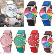Casual Womens Watch Men Leather Letter Watch Analog Quartz Wrist Watch PROMOTION