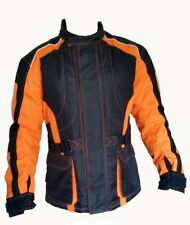 Orange Hi-Vis Cordura Waterproof Breathable Armour Motorcycle Motorbike Jacket