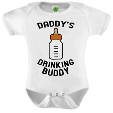 Daddy's Drinking Buddy Onsie ORGANIC Cotton Romper Baby Shower Gift Funny Presen