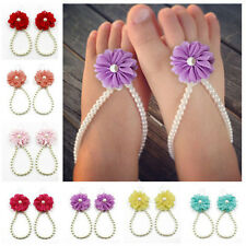 Baby Foot Flower Infant Pearl Chiffon Barefoot Toddler cute Beach Sandals lovely