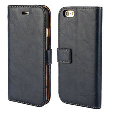 Luxury Grain Effect PU Leather Wallet Cover Phone Case For iPhone 4S 5S 6 6 Plus