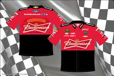 Kevin Harvick Bud Budweiser Embroidered  Pit Crew Red Black Shirt JH Design New