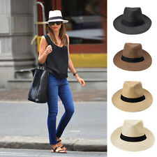 Fashion Unisex Fedora Panama Wide Brim Trilby Straw Sun Hat Beach Summer Sunhat