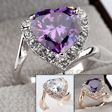 Fashion Solitaire Love Heart Ring 18KGP CZ Rhinestone Crystal Size 5.5-9