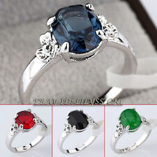 Simulated Gemstone Fashion Ring 18KGP White Gold Plated CZ Crystal Size 5.5-9