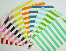 25 Food Oil Paper Party Bags Colored Horizontal Striped Craft Bags For Party