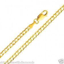 Solid 14k Yellow Gold 3.2mm Cuban Chain 16 18 20 22 24 26 Inches