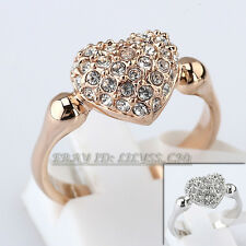 Fashion Heart Ring 18KGP Rhinestone CZ Crystal Size 5.5-9