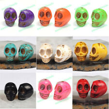 Wholesale Lot 100pcs Howlite Turquoise Charm Carved Skull Loose Beads Fingdings