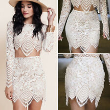 Fashion Women Sexy Lace Crochet Floral Bodycon Mini Skirt Evening Party Dress