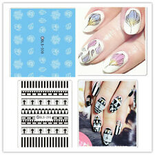 1 Sheet White Rose Manicure Water Decals Tribal Cross Transfer Nail Art Stickers