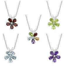 "Sterling Silver 925 Gemstone Flower Pendant with 18"" Italian Box Chain"