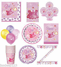 Pink Baby Shower Party Tableware Decorations Supplies Clothesline Girl 9 Items