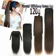 120g Deluxe Thick Ribbon Ponytail Straight Clip In 100%Real Human Hair Extension