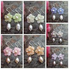 On Sale  Mother Of Pearl Flower Rice Freshwater Pearl Silver Fashion Earrings