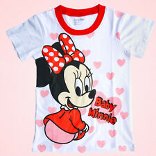 New 1-7Years Kids Girl Mickey& Minnie Mouse T-Shirt Blouse Tops Summer Clothing