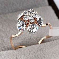 A1-R3093 Simulated Gemstone Flower Fashion Ring 18KGP Swarovski Crystal