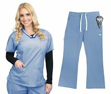 Material Girl Nurse Uniforms Scrub SET Top and Pants Stretch 1056-07
