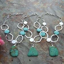 """18"""" White Coin Freshwater Pearl Natural Turquoise Pendant Chain Necklace"""