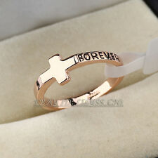 A1-R290 Fashion Band Ring Cross 'FOREVER' Ring 18KGP Size 5.5-8 No Stone