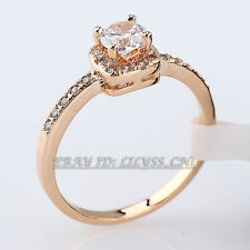 Fashion Solitaire Engagement Wedding Band Ring 18KGP CZ Rhinestone Crystal