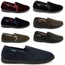 NEW MENS DUNLOP COMFORTABLE SOFT SLIP ON GUSSET SLIPPERS GENTS INDOOR SHOES SIZE