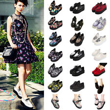 NEW WOMENS COLORFUL PLATFORM LACE UP LADIES FLATS CREEPERS PUNK GOTH SHOES SIZES