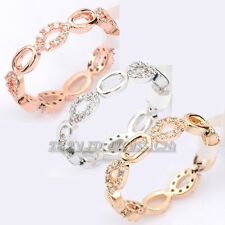 Micro Inlays Fashion Chain Band Ring 18KGP CZ Rhinestone Crystal Size 5.5-8