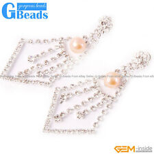 8-9mm Freshwater Pearl Gold Plated Dangle Stud Earrings Fashion Jewelry Beads