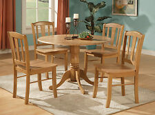 """42"""" ROUND DUBLIN DINETTE KITCHEN DINING TABLE SET WITH WOOD SEAT IN LIGHT OAK"""