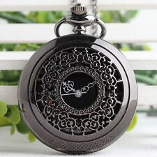 Black Hollow Carved Grilles Black/Golden/White Dial Quartz Pocket Watch Unisex