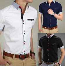 Fashion Mens Slim Fit Short Sleeve Casual  Shirt T-Shirts Tee Tops