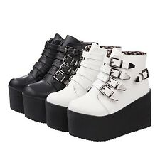 Hot Punk Womens Girls Gothic Creepers Flatform Metallic Buckle Ankle Boots Shoes