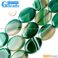 Natural Green Stripe Agate Gemstone Oval Beads For Jewelry Making Free Shipping