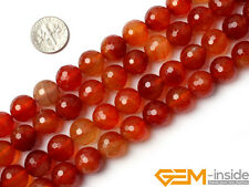 """12mm Red Carnelian Gemstone Round Faceted Beads For Jewelry Making Strand 15"""""""