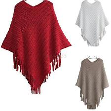 Newest Winter Women Cape Coat Fringe Poncho Oblique Stripe Jacket Shawl Scarf