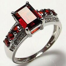 Size 7,8,9,10,11 Red Garnet 18K Gold Filled Fashion Engagement Woman's Ring Halo