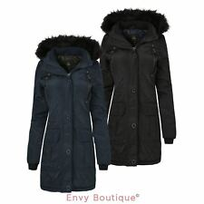 NEW LADIES WOMENS BUTTONED QUILTED PARKA FUR HOODED PADDED PU POCKET JACKET COAT