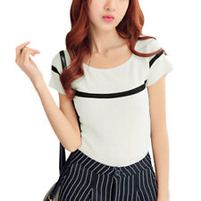 Woman Stripes Detail Scoop Neck Short Sleeves Casual Knit Top