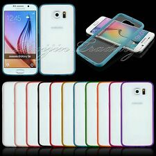 for Samsung Galaxy S6 Edge Slim Clear Transparent Back Case Silicon Frame Cover