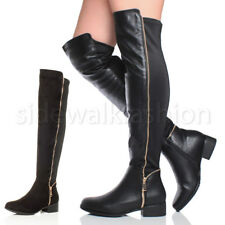 WOMENS LADIES LOW HEEL STRETCH GOLD ZIP OVER THE KNEE HIGH RIDING BOOTS SIZE