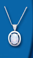 Unique Wishlist Sterling Silver Synthetic Opal Oval Pendant *BT0044