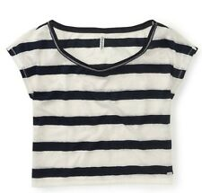 NEW Navy/White Aeropostale Aero Womens Cropped Lace Stripe Dolman Tee Shirt XL