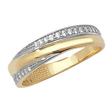 9ct Yellow & White Gold Clear Cubic Zirconia Fancy Eternity Style Ring RN776