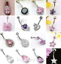 1pc 14G Surgical Steel Barbell CZ Crystal Navel Belly Button Ring Bar Piercing